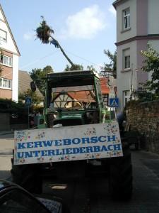 Der Kerbebaum wird an der Ecke Liederbacher Straße / Wagengasse in Frankfurt am Main Unterliederbach aufgestellt.