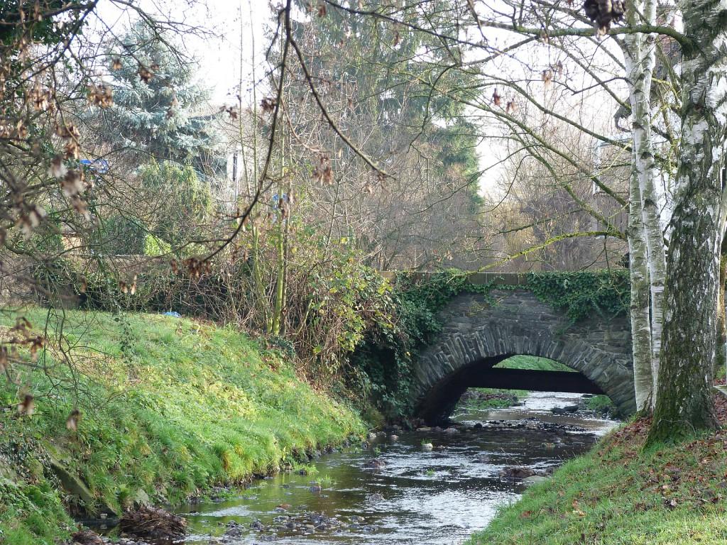 Liederbach und Brücke am Geißspitzweg in Frankfurt am Main Unterlieerbach