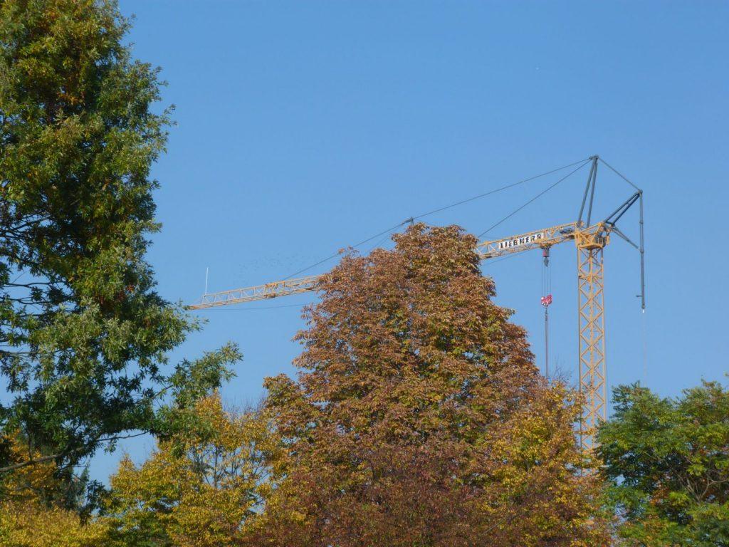 Frankfurt am Main Unterliederbach, Herbstfarben mit Kran