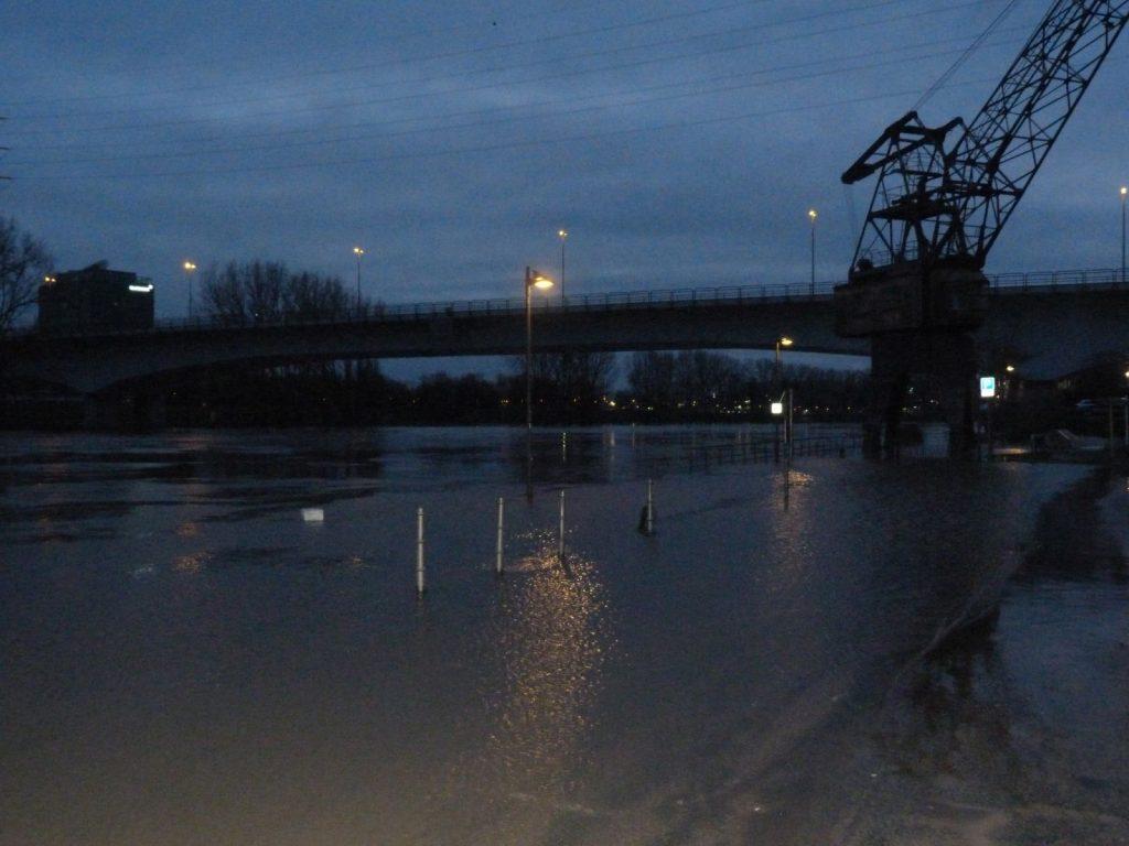 Mainufer mit Kran und Leunabrücke in Frankfurt am Main Höchst