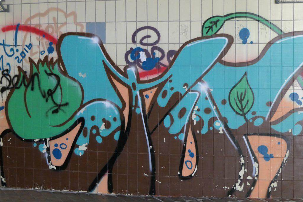 Sprayer-Motiv in der Unterwelt von Frankfurt am Main Höchst