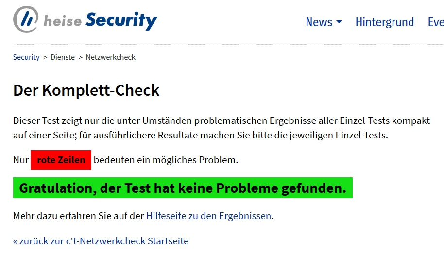 Screenshot: Security-Check bei Heise