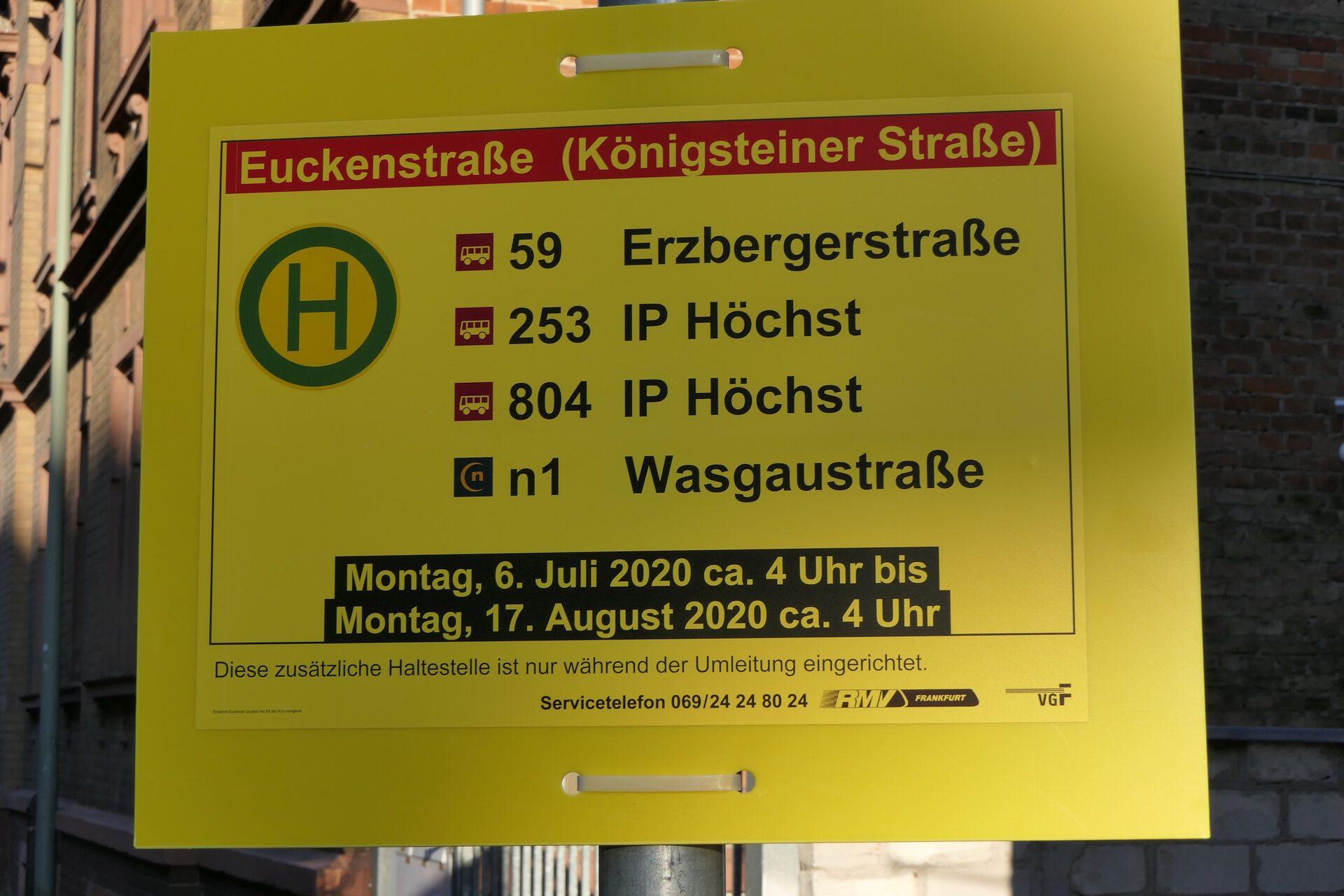 Ersatzhaltestelle für die Bushaltestelle Euckenstraße in der Königsteiner Straße